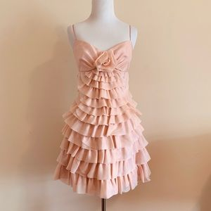 NWT Betsey Johnson Tierd Ruffles Blush Pink Dress